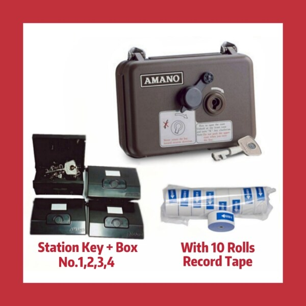 AMANO PR-600 WATCHMAN CLOCK SETS with 4 sets STATION POINT + KEY (No: 1,2,3,4) + FREE 10rolls of Paper Roll