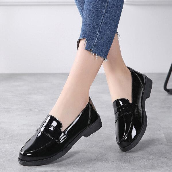 DOSREAL Giày Oxford Cho Nữ Da Hàn Quốc Giày, Giày Lười Đế Bằng Thường Ngày Giày Da Thời Trang Giày Nữ Cao Su Màu Đen, Cỡ Lớn 35-41 giá rẻ
