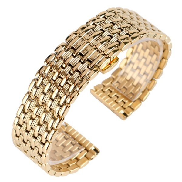 18mm 20mm 22mm Solid Gold Watch Bands Strap Stainless Steel Watchband Adjustable Replacement Fashion Bracelet + 2 Spring Bars Malaysia