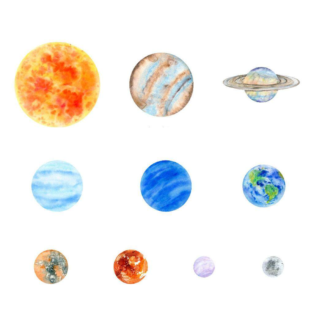 10pcs Glow In The Dark Round Planets Star PVC Stickers Kids Ceiling Wall Bedroom