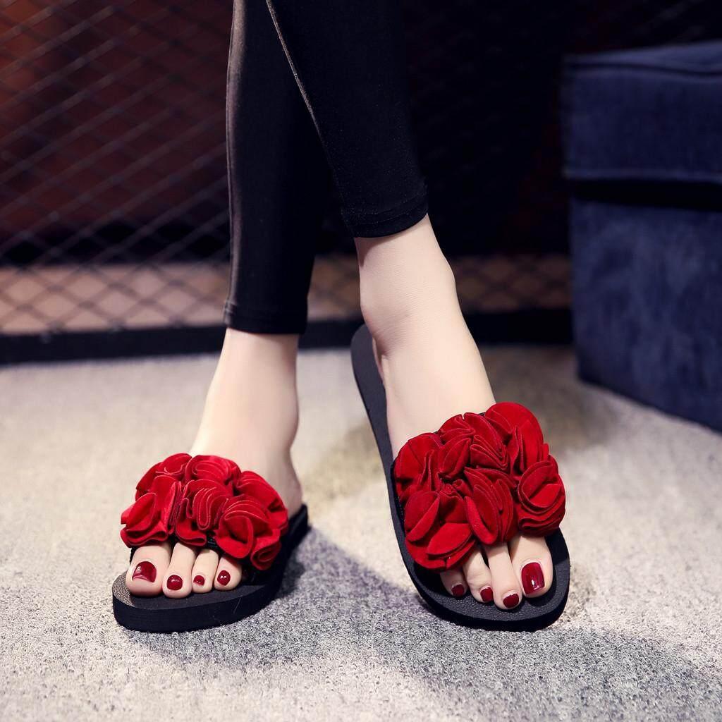 9674b8174 Hayleystore Women's Bohemian Flower Flat Slippers Summer Sandals Non-slip Beach  Shoes
