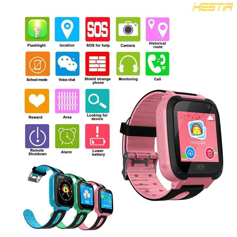 New 4 Generation Kids Touch Screen Smart Watch Multi-function Alarm Calendar Waterproof Student Positioning HD Camera SIM Card Phone Call Watch Support Android IOS Malaysia