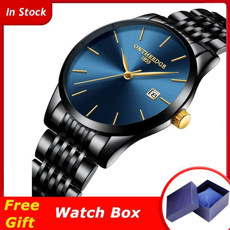ONTHEEDGE RZY023 Mens Business Watch Ultra-thin Waterproof Calendar Stainless Steel Strap Quartz Watch Malaysia