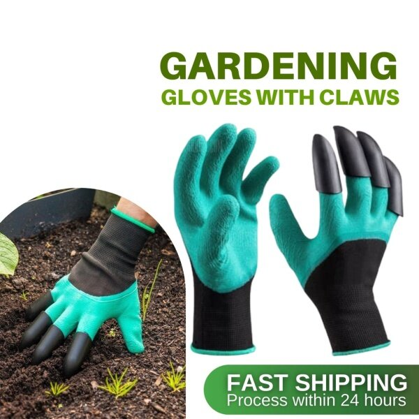 GARDENING GLOVE CLAWS FINGER RIGHT HAND PLANTING DIG SOIL EASY SAFETY WORK PROTECTIVE FINGERTIPS