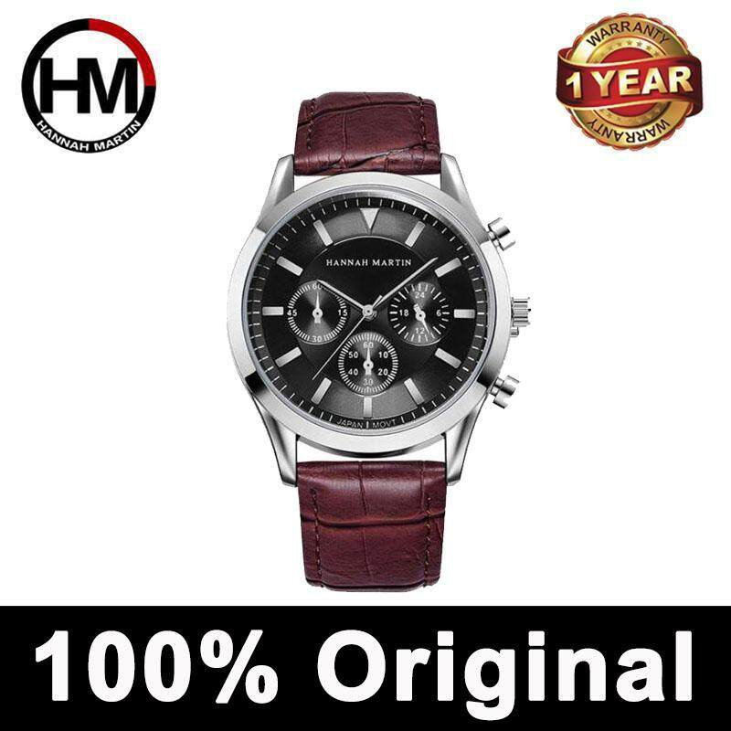 HANNAH MARTIN Original Watch for Men Jam Tangan Lelaki Business Casual Sports Belt Watch Fashion Three Eyes Small Dial Waterproof Quzrtz Watch Male Malaysia