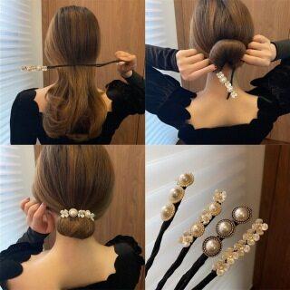 uf4qsbku Kẹp Tóc Ngọc Trai Cổ Điển Lười Cho Nữ Mới Kẹp Hoa Headband Phụ Kiện, Tóc Bun Maker thumbnail