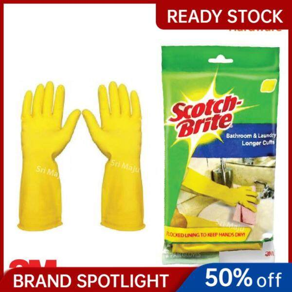 MAJU 3M Scotch Brite Long Cuff Bathroom Laundry Hand Glove for House Work Dish Wash Cleaning Task Office Sarung Tangan