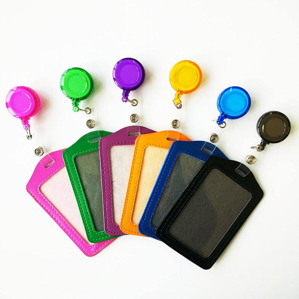 1 * อุปกรณ์สำนักงานหนัง Pu โรงเรียนนักเรียนสายจูงยืดหดได้คลิปเข็มขัดรหัสรถเมล์ผู้ถือ Identity Badge ไพ่หลากสีผู้ถือ Badge Reel ตัดเสื้อทำงานการ์ด.