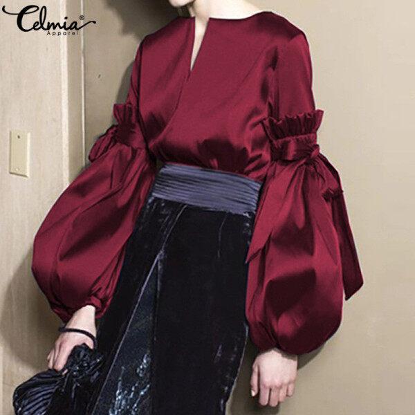 Áo nữ tay bồng nhún bèo dễ thương chất liệu lụa cổ V thời trang Hàn Quốc