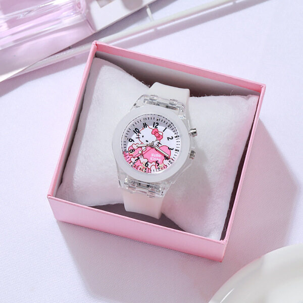 2020 cute cartoon KT cat children watches LED luminous watch silicone strap kids watch fashion student watches clock Wrist watch for kids WristWatch For girl Childrens Birthday Gifts Christmas Gifts Malaysia