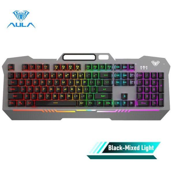 Allmax AULA F3010 Wired Gaming Keyboard 26 Keys Anti-ghosting Ergonomic Metal Panel Mix Backlit LED Gamer Keyboard For Desktop Laptop Singapore