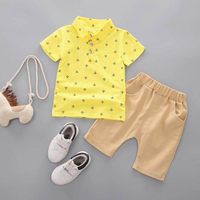 87a61d06 2019 children's wear boy polo shirt boy cartoon children's short sleeve  spring and summer suit