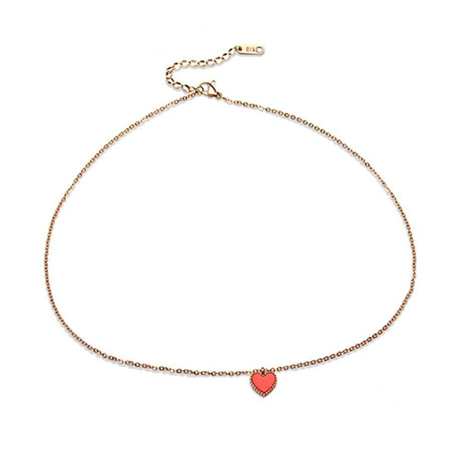Hot Penjual Fashion Kepribadian Wanita Kecil Mawar Hati Kalung Emas Warna Tidak Alergi Titanium Perhiasan Kalung