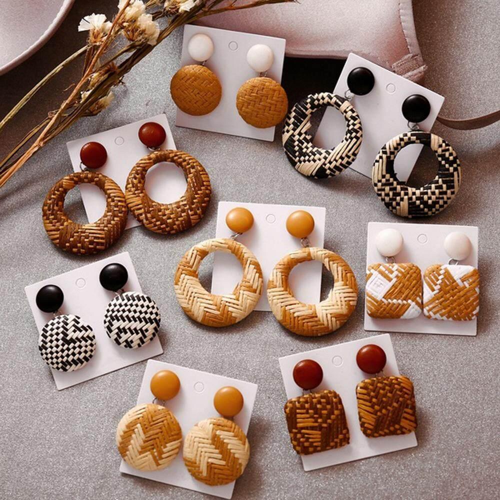 Long big vintage bohe drop jewelry bohemia statement wooden  earrings for women