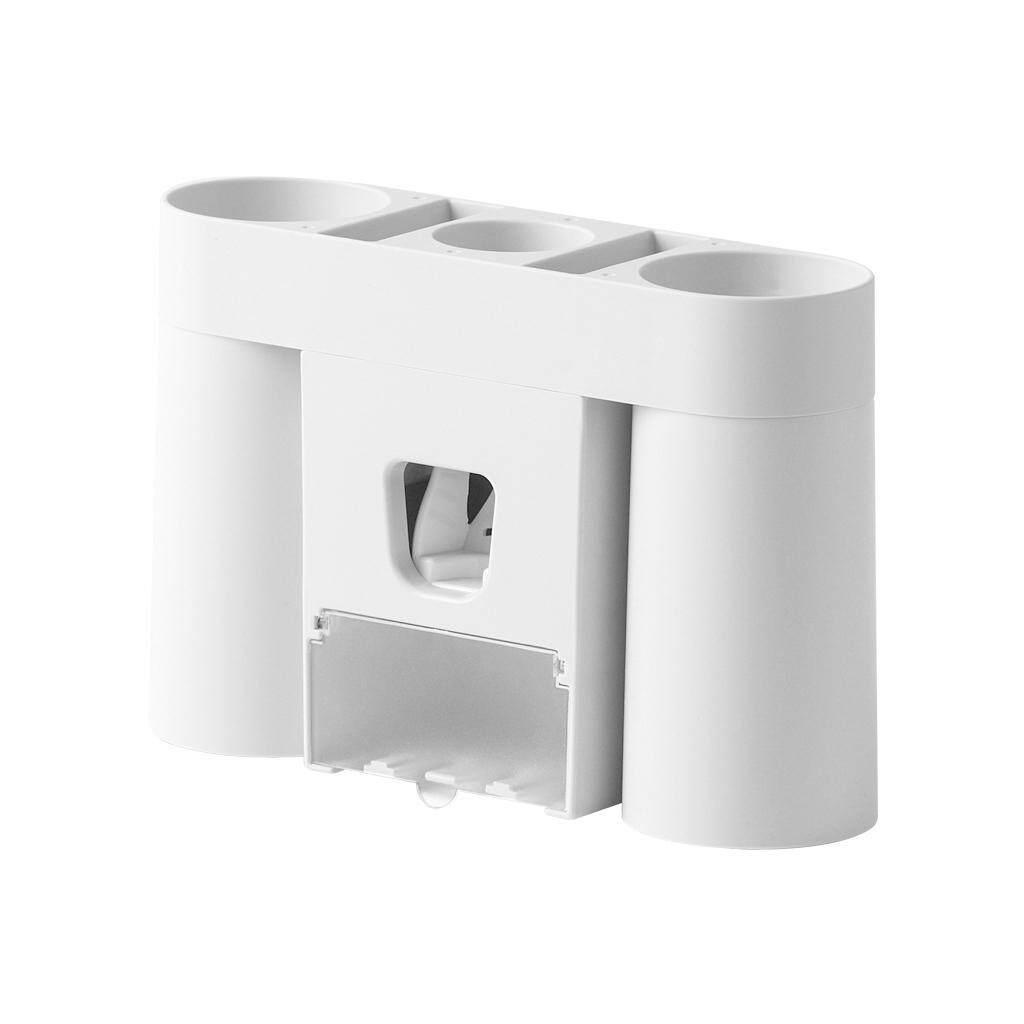 [DM]-Wall-Mounted Toothbrush Holder Punch Free Automatic Toothpaste Dispenser Suction Wall Toothbrush Storage Shelf