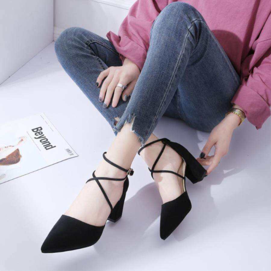Spring Foot Ring Strap High Heels Girl 2019 New Wild Female Thick. Strap High Heels By Kong Xiang Xuan 888.
