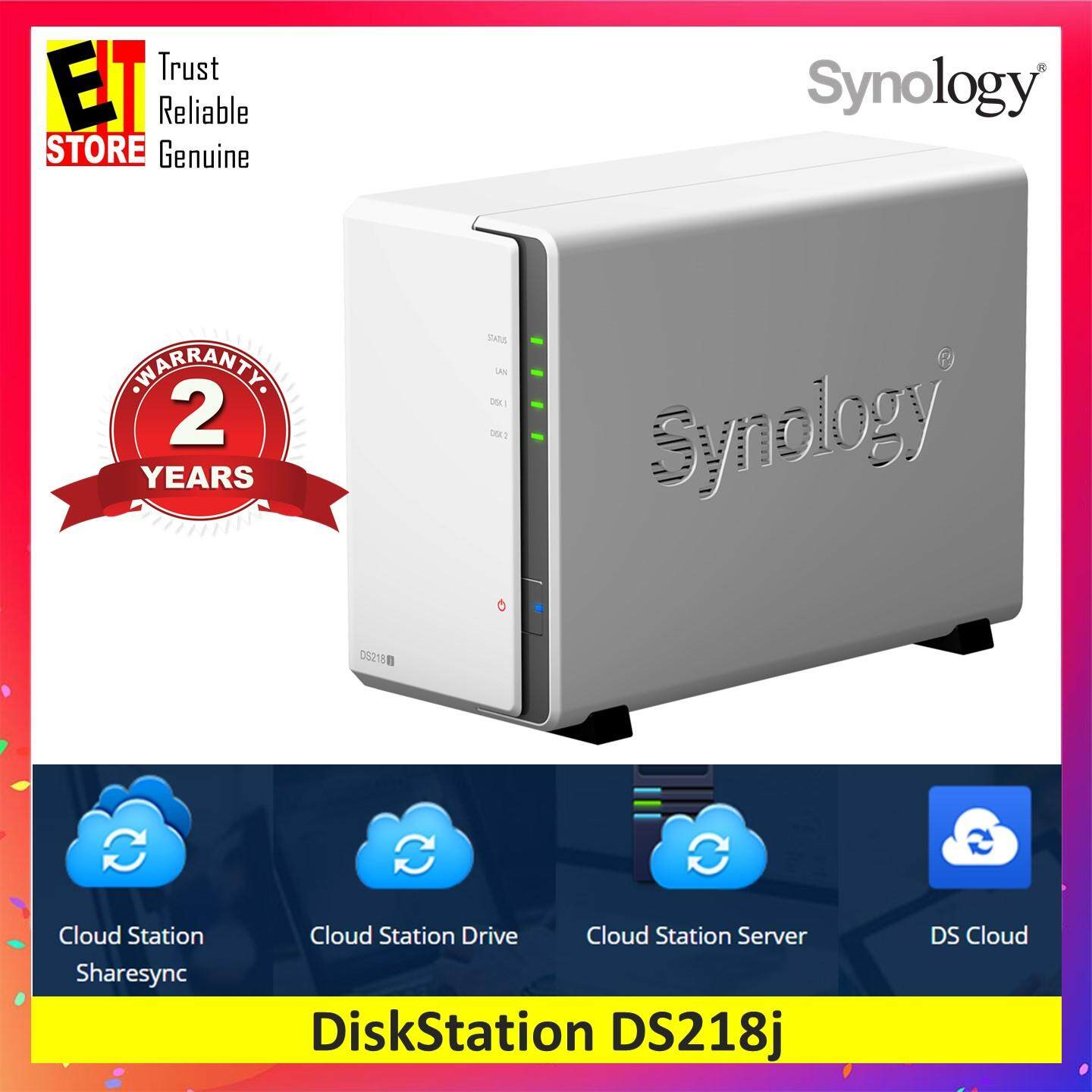 SYNOLOGY DISKSTATION DS218J 2-BAY NAS 512MB DDR3 FOR HOME AND PERSONAL  CLOUD STORAGE