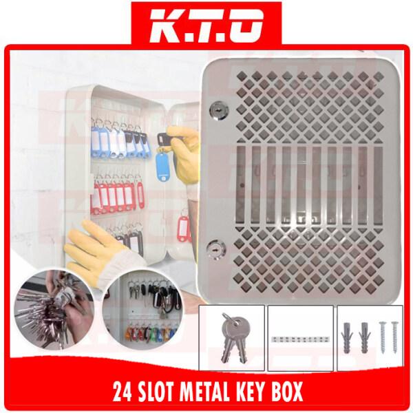 24 SLOT KEYS HOLDER LOCKABLE SECURITY METAL KEY BOX STORAGE WALL MOUNTED / TRANSPARENT WINDOW