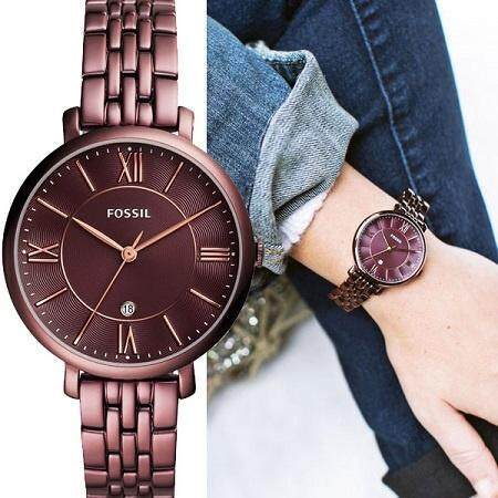 Original Fossil Womens Jacqueline Brown Dial 36mm Rose Gold Hand Watch with 2 year warranty ES4100 Malaysia