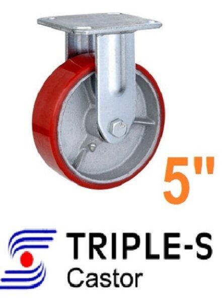 Triple-S 5 inch/ 125mm Heavy Duty Red PU on Iron Core Castor Wheels Trolley Roda troli Rigid / Swivel / Brake 250KG