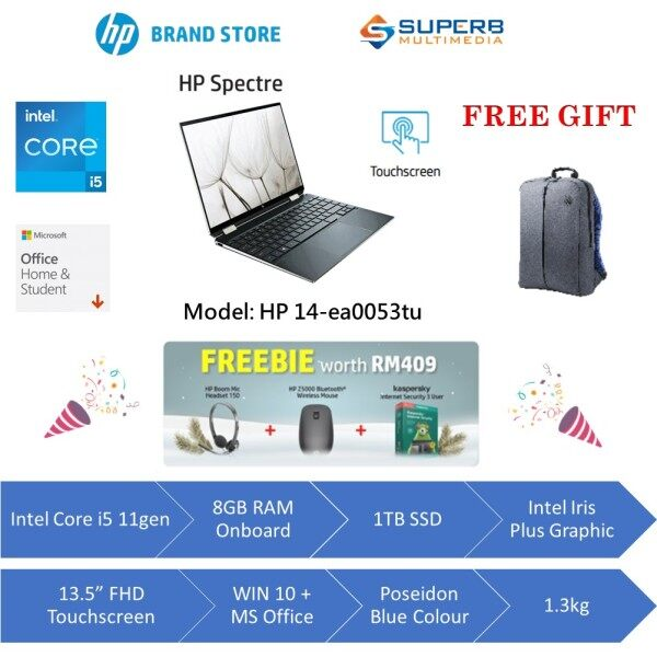 HP Spectre x360 Convertible 14-ea0053TU Laptop (Intel core i5, 8gb ram, 1tb ssd, 13.5 FHD TOUCH, Win10, OPI, Poseidon Blue) Malaysia