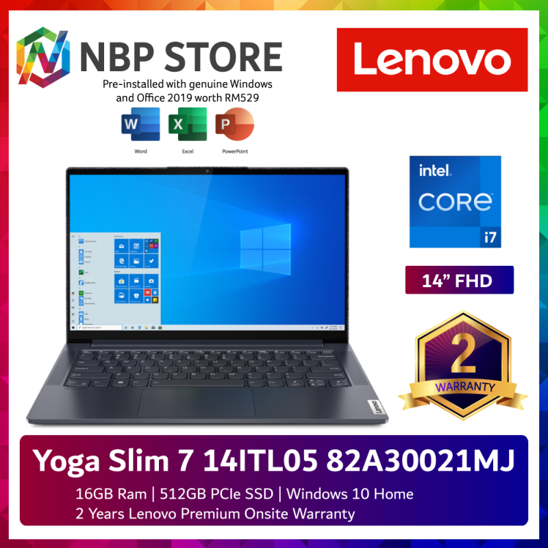 Lenovo Yoga Slim 7 14ITL05 82A30021MJ 14 FHD Touch Laptop Slate Grey ( i7-1165G7, 16GB, 512GB SSD, Intel, W10, HS ) Malaysia