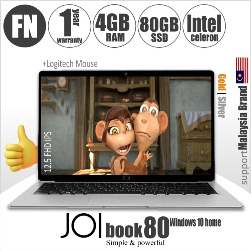 JOI Book 80 + Logitech Mouse + FREE 80GB hosting (Intel Celeron N3350 Dual Core 4GB RAM  64GB eMMC  12.5 FHD IPS) Malaysia