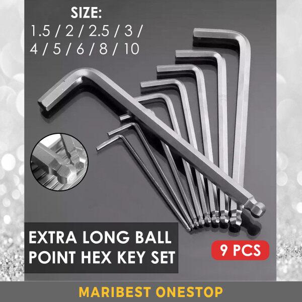 9PCS EXTRA LONG BALL POINT HEX KEY SET