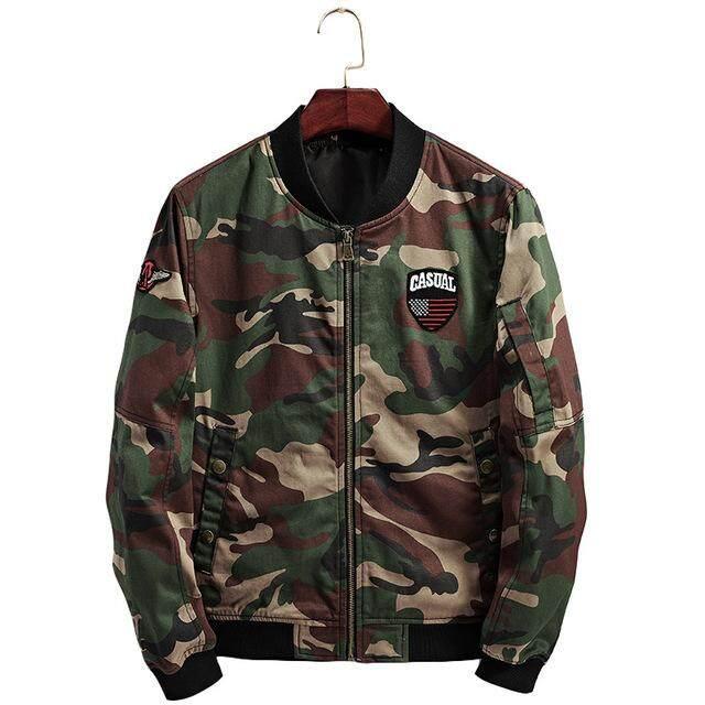 GustOmerD 2019 New Autumn Men's Jacket Casual Camouflage Long-sleeved Jacket Fashion Slim Collar Jacket Men