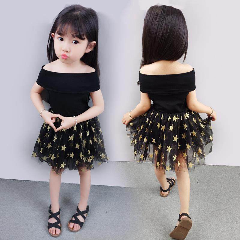 e418bc65f88 Summer Casual Baby Girls Off-Shoulder Princess Dress Cotton Kids Toddler  Mesh Sundress