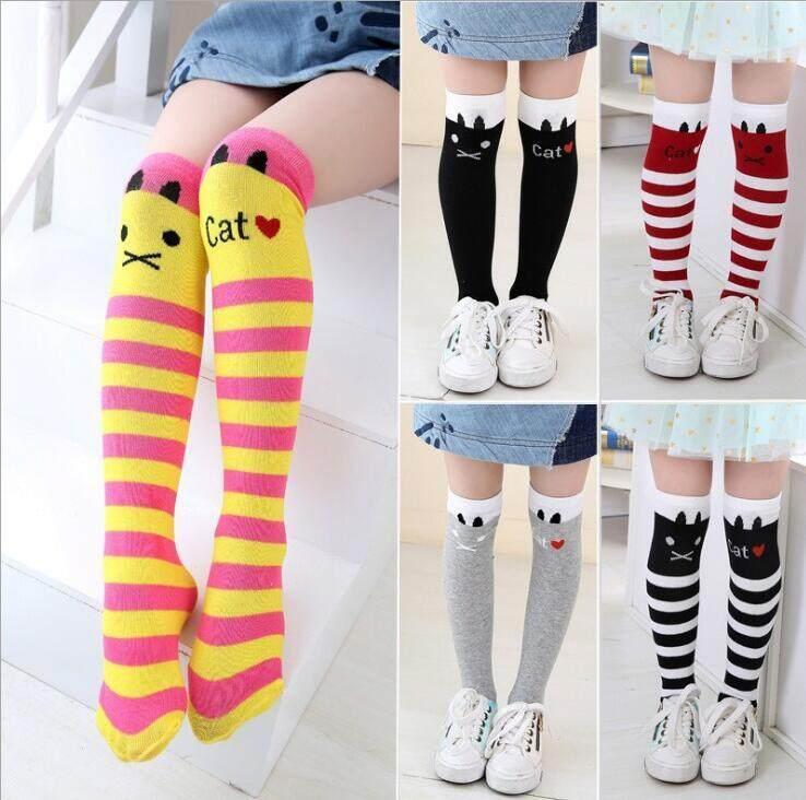 cb572d77936c Cute Cat Baby Girls Cotton Knee Socks Toddler Kids Children Comfortable  Stripe Dancing Socks Leg Warmer