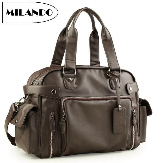 c1a6c8dfcc MILANDO Men PU Leather Messenger Sling Crossbody Hand Carry Bag (Type 1)