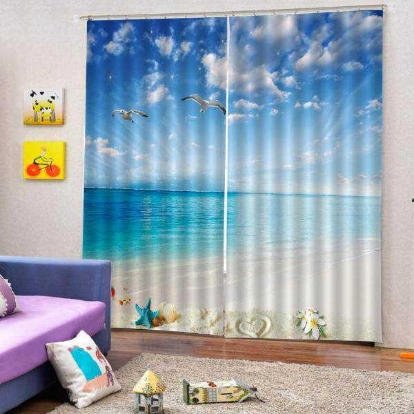 BolehDeals 2PCS Darkening Window Curtain Drape Scenery Decoration Bedroom Living Room