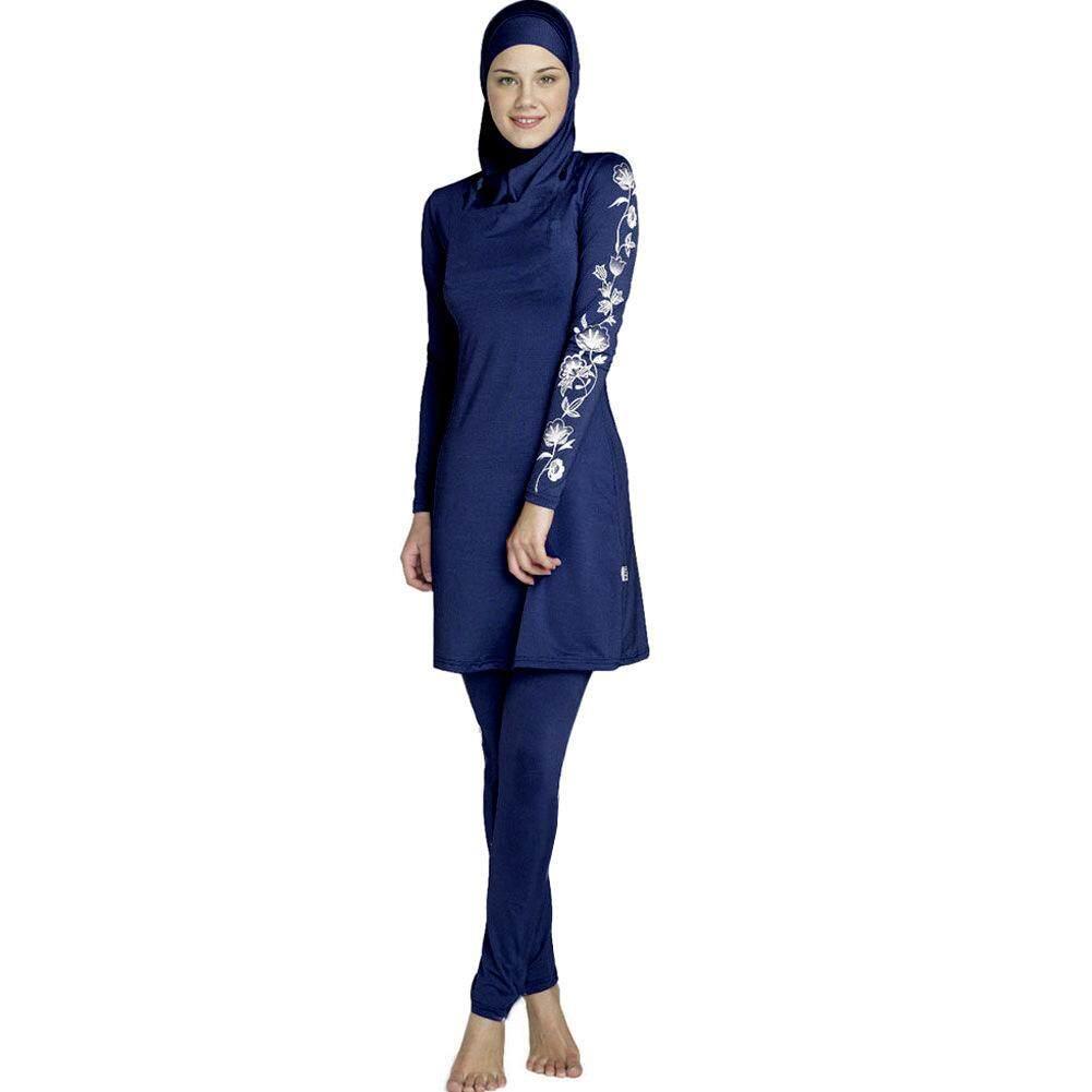 eba1e4bcb92e5 Anti-UV Splice Muslim Swimwear Women Printed Floral Hijab Muslim Swimwear  Beach Bathing Suit Muslimah