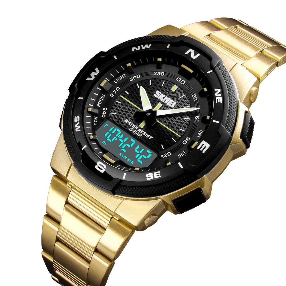 2019 SKMEI New Men Fashion Sports Watches Casual Waterproof Watch Multifunction Stainless Steel Dual Display Digital Wristwatches Male Clock Malaysia
