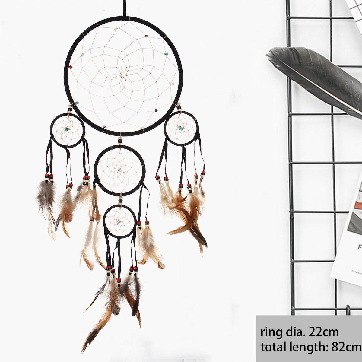 Large Stunning Jet Black Suede Leather Dream Catcher Long 80 Cm Total Length By Freebang.