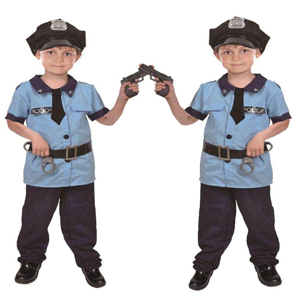 New Arrival Children Policeman Costume Performance Career Police Outfit Role Play Cool Boy's Police Costumes