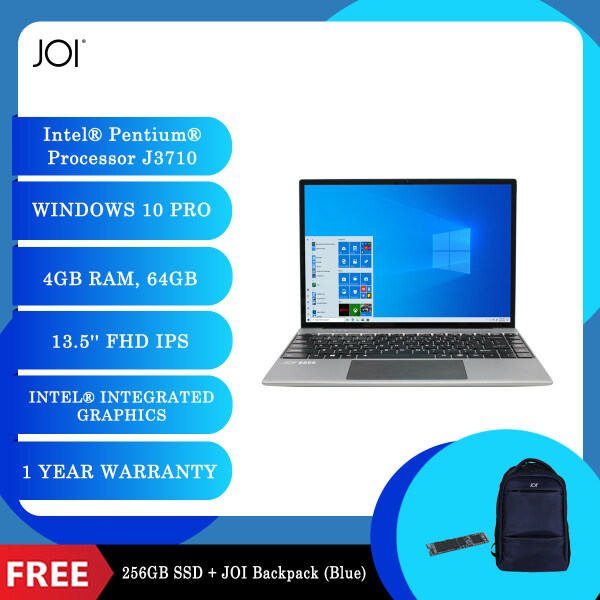 "JOI Book 200 Pro (Pentium J3710,4GB,64GB,13.5"",W10Pro,GRY) + Free 256GB SSD + JOI Backpack [Choose Color] Malaysia"