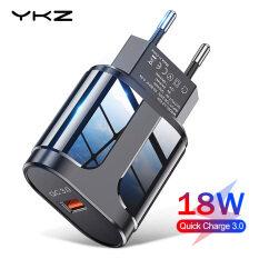 Bộ Sạc Nhanh YKZ 3.0 Cho Điện Thoại Di Động, Bộ Sạc USB 18W Phích Cắm EU/US, QC3.0 Cho iPhone Samsung Huawei Xiaomi Vivo Oppo