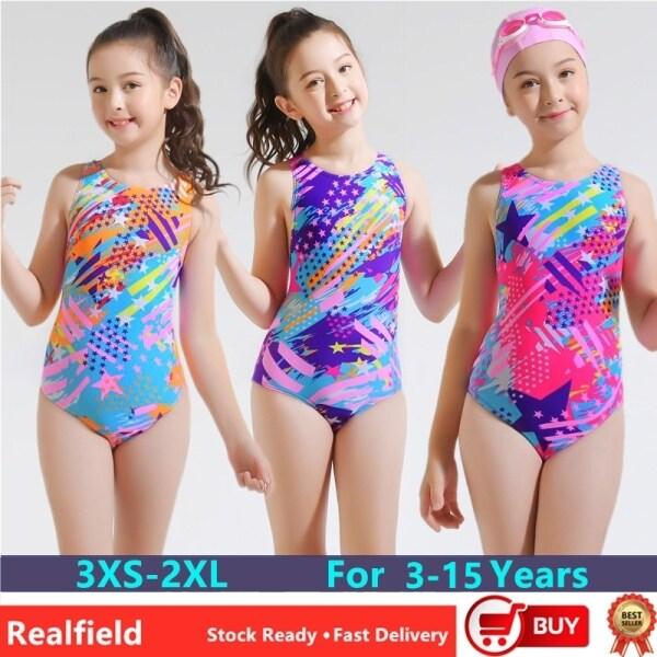 Giá bán (3-15Y) Đồ Bơi Trẻ Em Bé Gái Thiết Kế Một Mảnh Đồ Bơi UPF 50 + Đồ Bơi Hở Lưng Thời Trang Cho Trẻ Em Bộ Đồ Bơi Bikini Mũ Bơi Miễn Phí