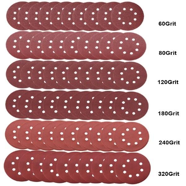 60 PIECE(s) 5 Inch Sanding Disc Sandpaper 60 80 120 180 240 320 Polishing Pad Grit