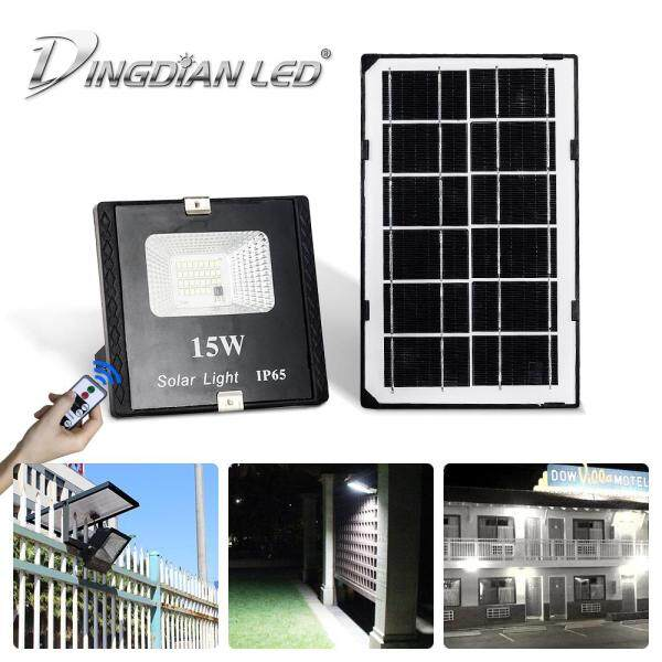 DINGDIAN LED LED Outdoor Solar Floodlight Remote Control 15W Waterproof Super Bright Lampu Solar Energy Flood Light Yard Garden Street Solar Lamp