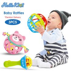 HelloKimi 3 Món lục lạc cầm tay, bóng lăn mềm và chuông lắc tay đồ chơi không chứa hóa chất BPA, đồ chơi giáo dục làm quà tặng cho trẻ sơ sinh và trẻ mới biết đi – INTL
