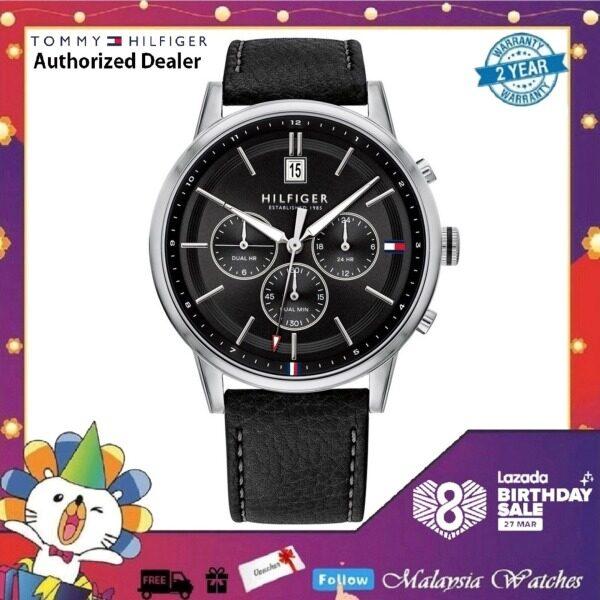 (100% Original) Tommy Hilfiger Kyle Mens 1791630 Black Leather Strap Watch (2 Years International Warranty) Malaysia