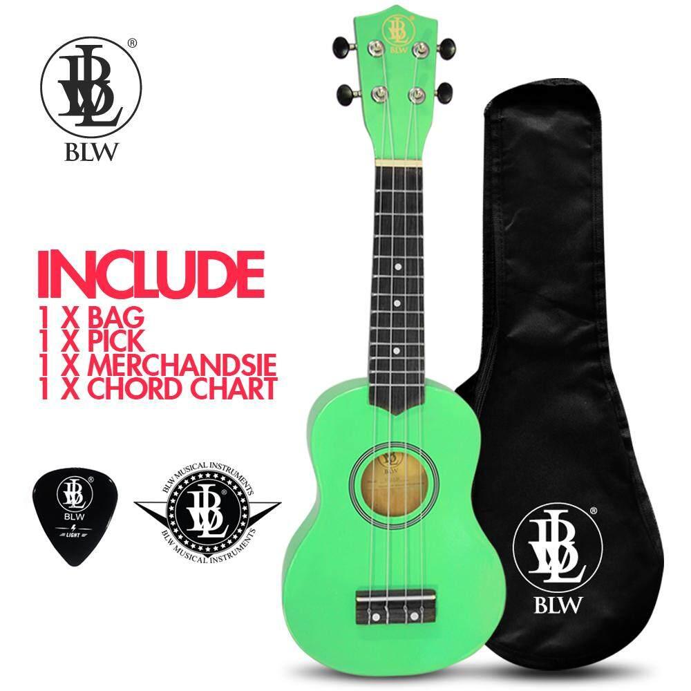 BLW 21 Inch 4 Nylon Strings Soprano Ukulele Hawaii Guitar FREE Bag, Chord Chart,