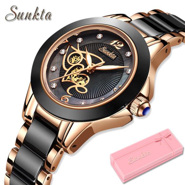 SUNKTA Watches for Women Diamond Surface Luminous Waterproof Ceramic Rose Gold Fashion Casual Analog Quartz Wristwatch Malaysia