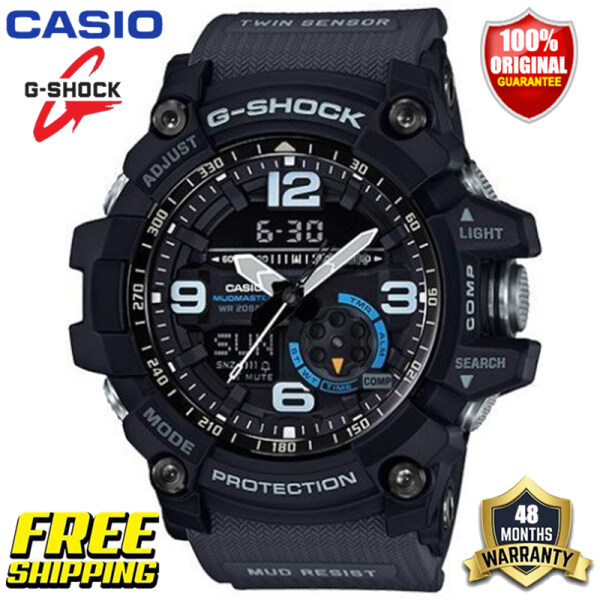 Original G Shock MUDMASTER GG1000 Men Sport Watch Dual Time Display 200M Water Resistant Shockproof Waterproof World Time LED Auto Light Compass Thermometer Gshock Man Boy Sports Wrist Watches 4 Years Warranty GG-1000-1A8 (Ready Stock Free Shipping) Malaysia