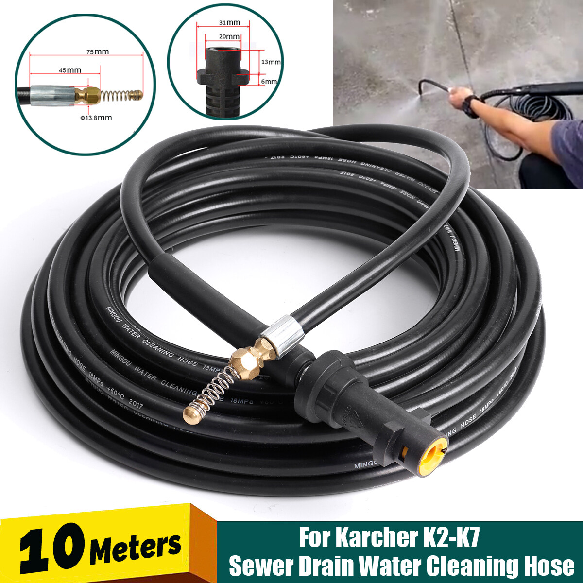 10m Drain Sewer Pipe Cleaning Hose Nozzle For Karcher K2 K7 High Pressure New Lazada