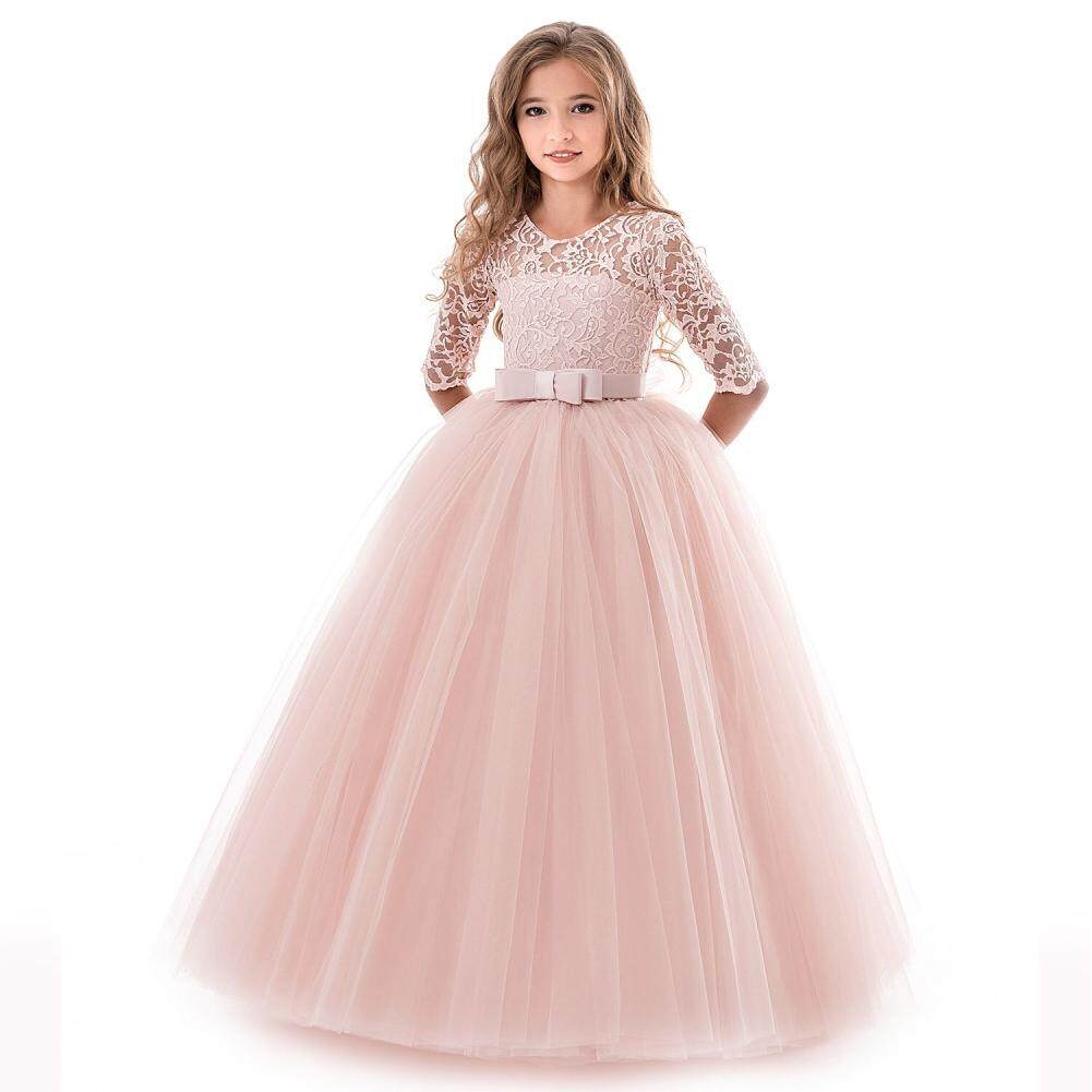 39969a977937 Magic Cube [FreeShipping] Kids Girls Long Sleeve Lace Formal Princess Dress  for Wedding Party