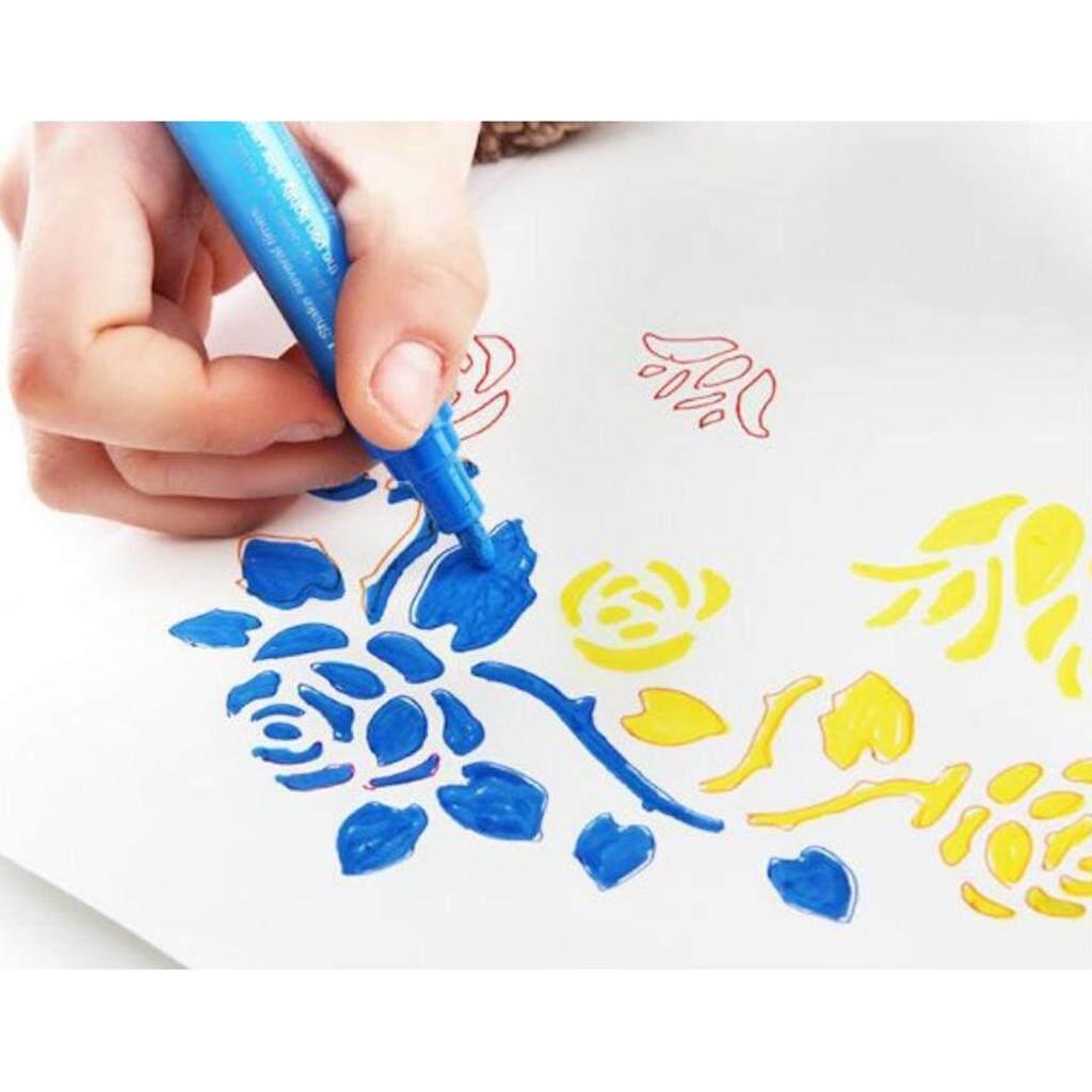 Mua BolehDeals 2X Sơn Acrylic Dấu Nghệ Thuật Thường Trực Tranh Kính Kim Loại Bút Đánh Dấu Trắng